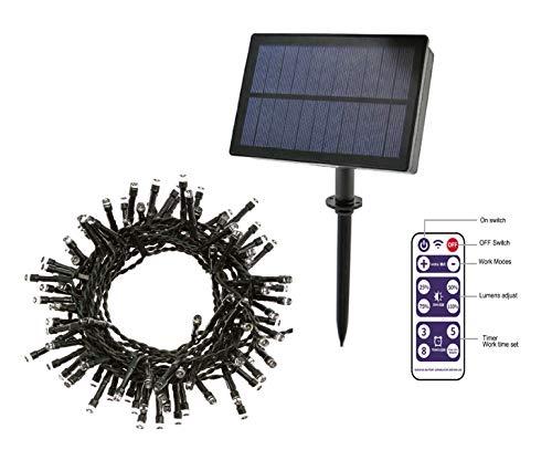 Guirnalda de luces 100 LED solar 12 mts impermeable para Exterior Navidad y otras fiestas cadena luminosa control remoto de 8 modos de iluminación batería de 1200 mAh y más de 10 horas de duración