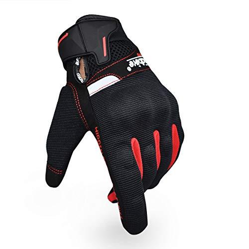 Guantes de Motocicleta de Verano para Hombres y Mujeres, Guantes de conducción de Motocicleta con Pantalla táctil, Guantes de Carreras para Deportes de Motor (Rojo, M)