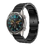 HappyTop - Cinturino di Ricambio da Uomo Compatibile con Huawei Watch GT, Cinturino Regolabile, in Acciaio Inox, Uomo, Nero