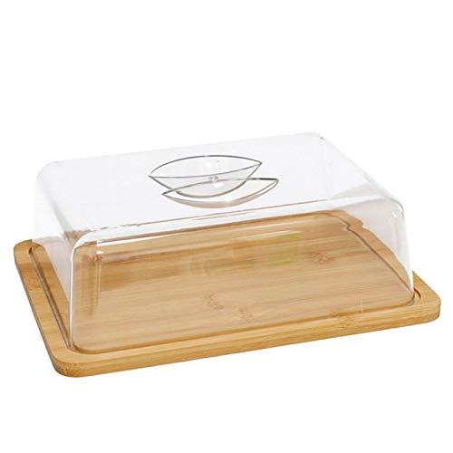 Acan - Quesera Rectangular con tapa de plástico y base de bambú 24 x 18 x 7,5 cm. Recipiente para conservar frescos tus quesos