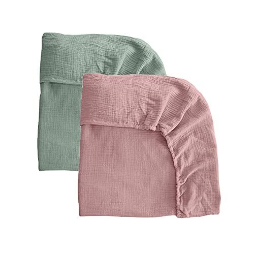 Pack 2 sábanas bajeras para moisés o capazo de Cochecito, sábanas Ajustables de Muselina Recambio Bajera Carrito bebé. Vestiduras moisés. Mimuselina (Menta-Rosa)