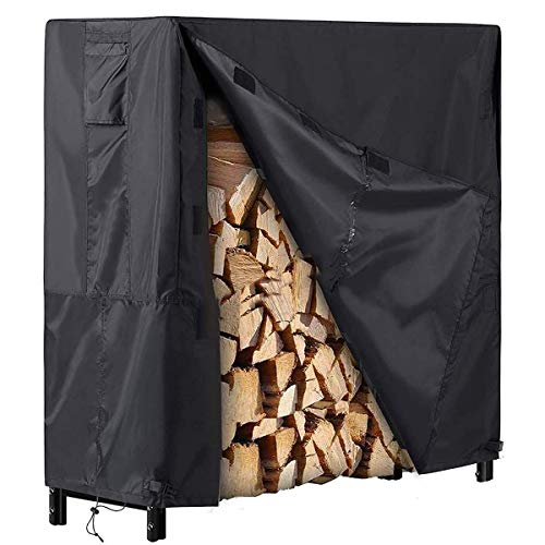 4 Ft. Steel Firewood Rack with Cover, Fire Wood Log Holder for Indoor/Outdoor