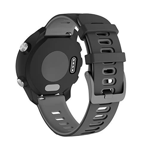 NotoCity für Garmin Vivoactive 3 Armband, 20mm Silikon Ersatzarmband Kompatibel mit Samsung Galaxy Active 2/ Gear Sport/Galaxy Watch 42 mm/Garmin Forerunner 645/245(Schwarz-Grau)