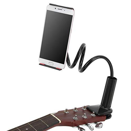 Guitar Phone Holder Guitar Headstock Cell Phone Clamp for Smartphones for Acoustic Electric Classical Guitar (Black)
