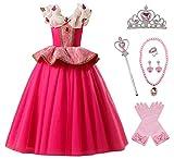 O.AMBW Disfraz de Princesa Aurora para niñas Cosplay Bella Durmiente Regalo Fiesta de cumpleaños Cena Navidad Disfraz Rosa Halloween Carnaval Traje Decoración Mariposa Accesorio Completo