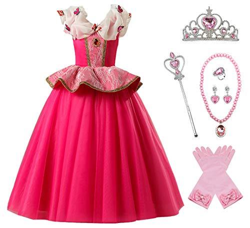 O.AMBW Disfraz de Princesa Aurora para nias Cosplay Bella Durmiente Regalo Fiesta de cumpleaos Cena Navidad Disfraz Rosa Halloween Carnaval Traje Decoracin Mariposa Accesorio Completo
