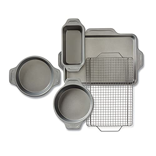 All-Clad Pro-Release Nonstick Bakeware Set Including Round Cake, Loaf Pan, Cooling & Baking Rack, 5 piece, Gray
