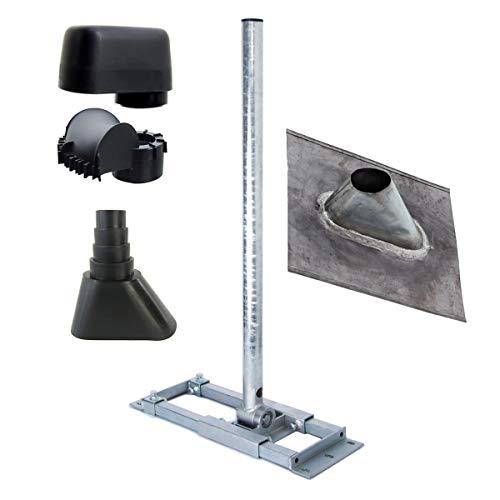 PremiumX Deluxe X90-60 Dachsparren-Halter 90cm Ø 60mm SAT Mast für Satellitenschüssel Blei Dach-Abdeckung Gummitülle schwarz Mastkappe