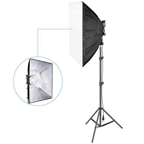 Neewer 800W Fotografía Estudio Kit de Iluminación Softbox: (1) 20x27 Pulgadas Softbox, (1) 4 Enchufe Soporte de Luz, (4) 45W Bombilla de Luz, (1) 200cm Luz Soporte para Retrato Video Disparo(EU)