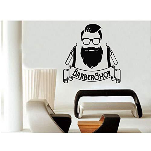 ASFGA Friseur Wandtattoos Friseur Logo Hipster Wandtattoos Friseur Muster Vinyl Art Deco 42 * 44cm