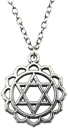 DUEJJH Co.,ltd Halskette Davidstern Antik Silber Farbe 31X26Mm Anhänger Halskette Schmuck Mode Mode Halskette für Frauen Dropshipping