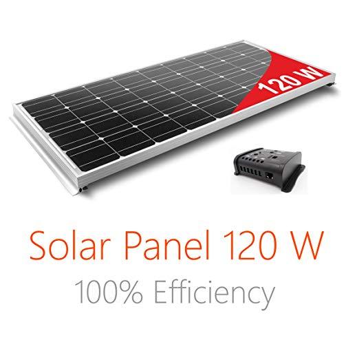 Pannello Solare 120W Monocristallino per Camper. Kit completo di Accessori per il montaggio e di Regolatore 10A