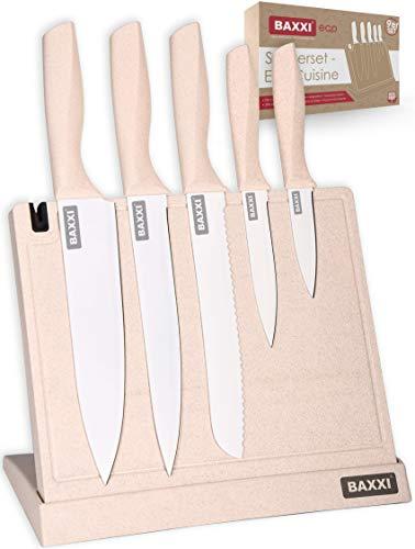 Juego de cuchillos ecológicos, tabla de cortar, bloque de cuchillos, cuchillo de cocina, de plástico, magnéticos, profesionales, de acero inoxidable, autoafilables, afilados, utensilios de cocina