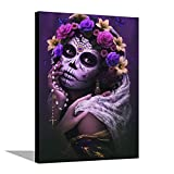 TEGE Dia de Los Muertos Poster Pictures Canvas Wall Art Prints, Wall Art for Living Room Bedroom Bathroom-Office Decor Artwork Gifts, Framed Ready to Hang 12x16inch(30x40cm) Framed