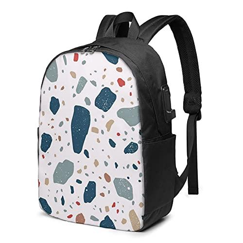 BYTKMFD Mochila de viaje con patrón floral para ordenador portátil, mochila escolar antirrobo, para hombre y mujer con puerto de carga USB de 17 pulgadas, Stone1, Talla única