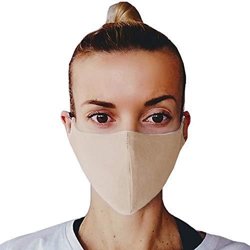 (3, Beige) Gesichtsmaske Mundschutz, Baumwoll Stoff Maske, Waschbare Atemschutzmaske, Wiederverwendbarer Mundschutz, Mund Maske Waschbar, Atemschutz, Staubdichte Maske, hergestellt in der EU
