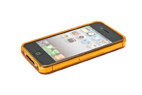 Luxburg Diamond Design custodia cover per Apple iPhone 4S / 4 colore arancione occhio di tigre, in silicone TPU