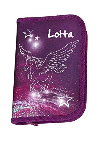 Federmappe mit Namen | Motiv Pegasus fliegendes Pferd mit Flügel & Sterne für Mädchen in pink & lila | Personalisieren & Bedrucken | Federmäppchen Schüleretui Federtasche 30-teiliges Set MARKENSTIFTE