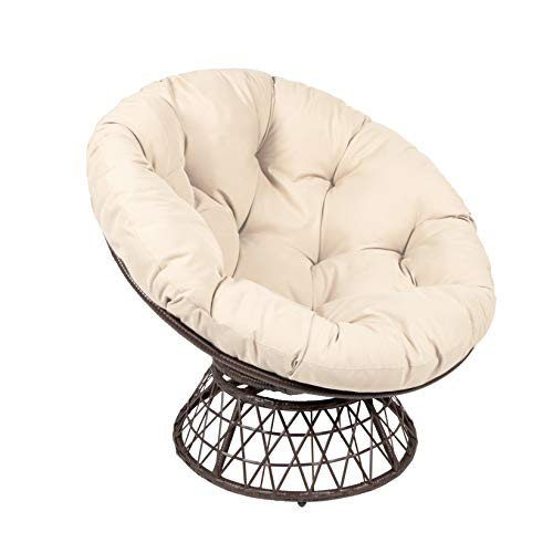 Milliard Papasan Chair with 360-degree Swivel, Tan Cushion and Brown Frame