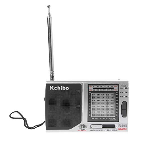 JSFGFSDH KK-9803 FM/MW/SW1-8 Receptor de radio de alta sensibilidad de 10 bandas con soporte plegable