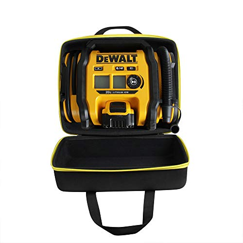 Hermitshell Hard Travel Case for DEWALT DCC020IB 20V Max Inflator (Case for Inflator + Battery Pack, Black+Yellow Zipper)
