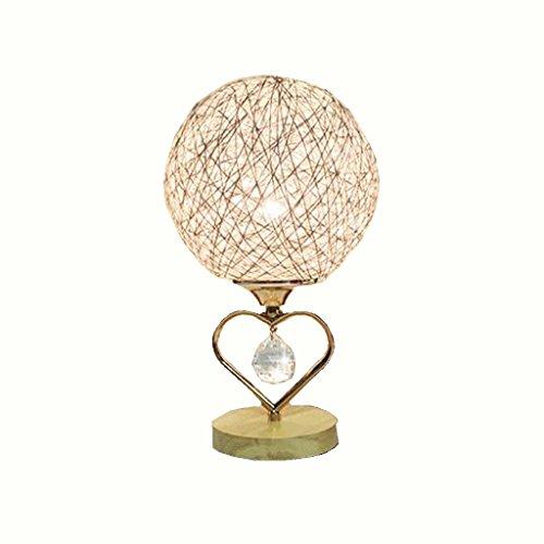 Bal de Rotin en Bois Massif en Bois Lampe de Table à LED Lampe de Bureau Tissée à la Main Lampe de Bureau en or Lampe de Chevet Moderne Lampe de Chevet Simple Lumière -E27(jaune clair)