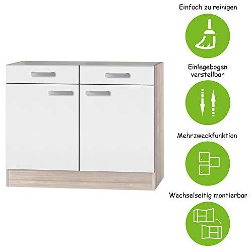 MMR Unterschrank Küche DALLAS, Küchenschrank, ohne Arbeitsplatte, 2-türig, 100 cm breit, Weiß/Akazie Dekor