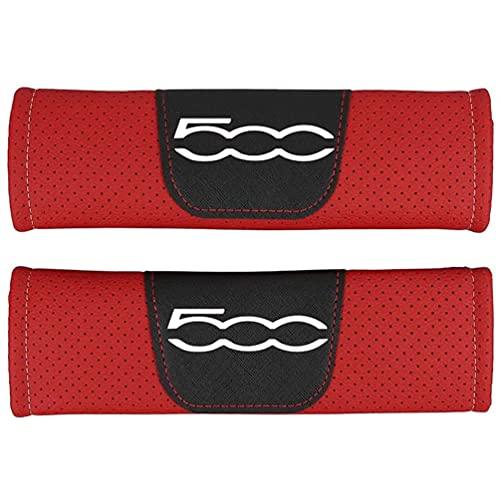 AMPTRV Almohadillas cinturón Seguridad para Fiat 500,Tela de Material de Cuero Genuino arnés Hombros Funda Acolchada Cómodo Transpirable Suave Acondicionamiento Interior