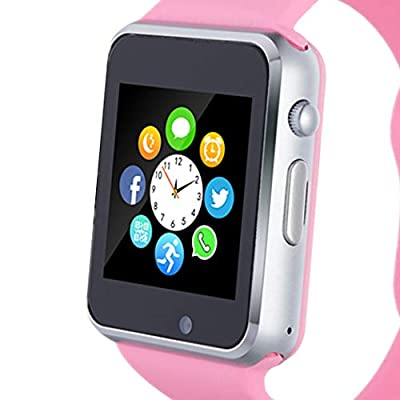 Smart Watch, Smartwatch Phone with SD Card Camera Pedometer Text Call Notification SIM Card Slot Music Player Compatible for Android Samsung Huawei and IPhone (Partial Functions) for Women Girls Teens from Amazqi