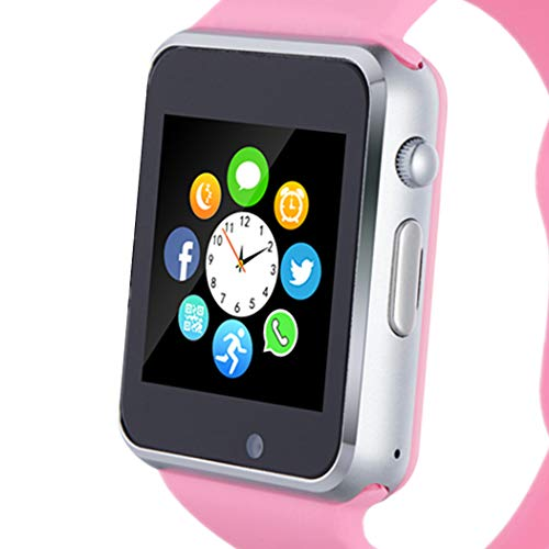 Smart Watch, Smartwatch Phone with SD Card Camera Pedometer Text Call Notification SIM Card Slot Music Player Compatible for Android Samsung Huawei and IPhone (Partial Functions) for Women Girls Teens