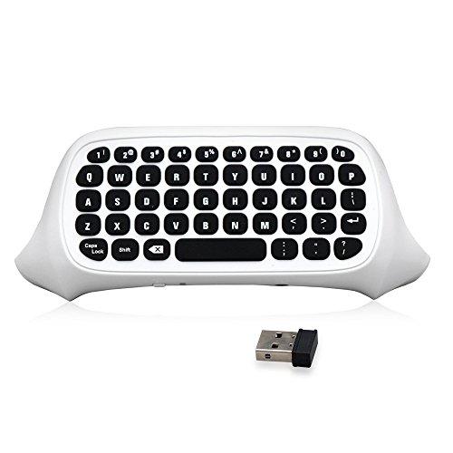 2.4G迷你无线Chatpad消息游戏键盘键盘带3.5mm音频插孔端口用于Xbox One / Xbox One Slim Controller,White