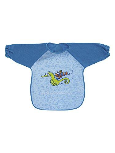 Kukuxumusu Babero Impermeable de Peva Azul con Mangas y Cierre de Velcro