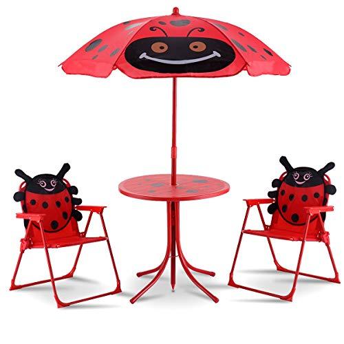 COSTWAY Juego de Mesa y 2 Sillas con Sombrilla Plegable Niños Muebles para Jardín Exterior Picnic Hogar Playa