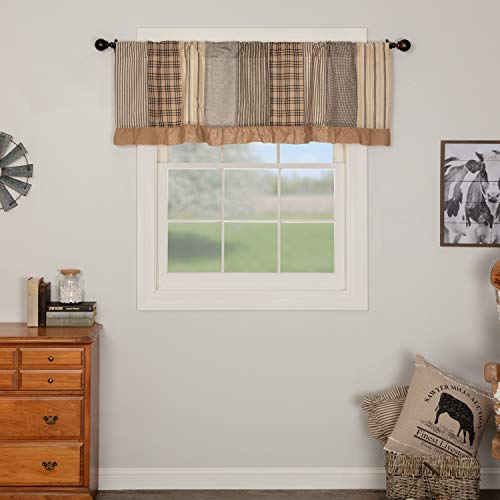VHC Brands Sawyer Mill Curtain, Valance 19x60, Charcoal Grey