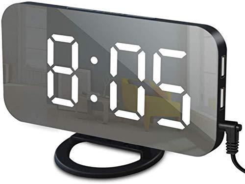 Wekker met USB-lader, digitale wekker voor slaapkamers, grote spiegeloppervlak, eenvoudige snooze-functie, dimmodus, nachtwekker