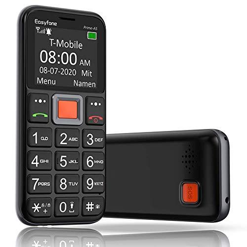 Mobiltelefon | Easyfone Prime-A5 Senioren-Handy mit großen Tasten & ohne Vertrag | Mit Notruf-Knopf & Taschenlampe & Ladestation - Schwarz