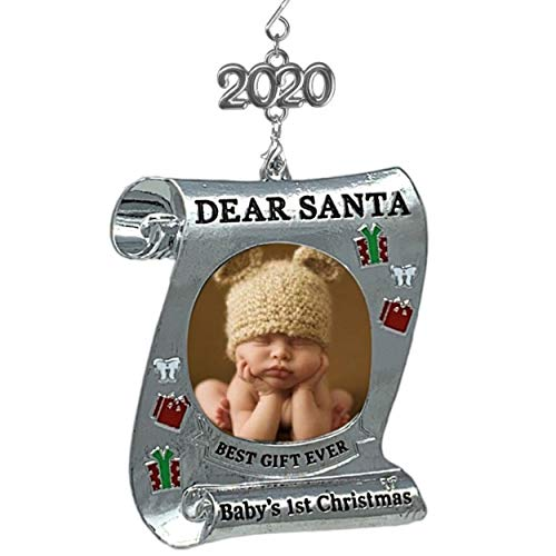 BANBERRY DESIGNS Baby's First Christmas Keepsake Frame - 2020 Dated Ornament for Newborn - Dear Santa Picture Holder - Baby 1st Photo Ornaments