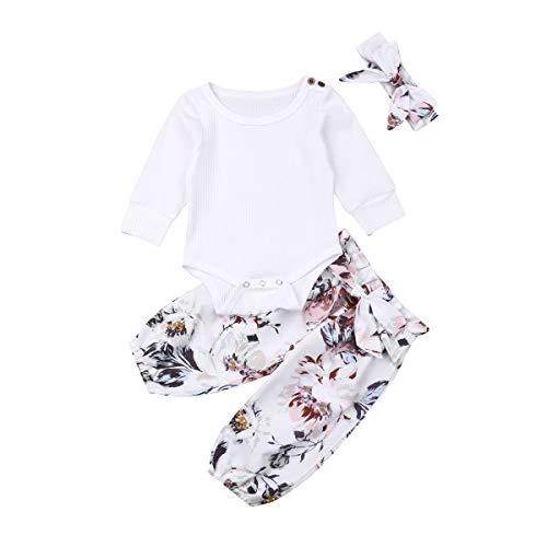 Geagodelia Babykleidung Set Baby Mädchen Langarm Body Strampler + Blumen Hose + Stirnband Neugeborene Kleinkinder Warme Babyset Kleidung T-28852 (0-3 Monate, Weiß 521)