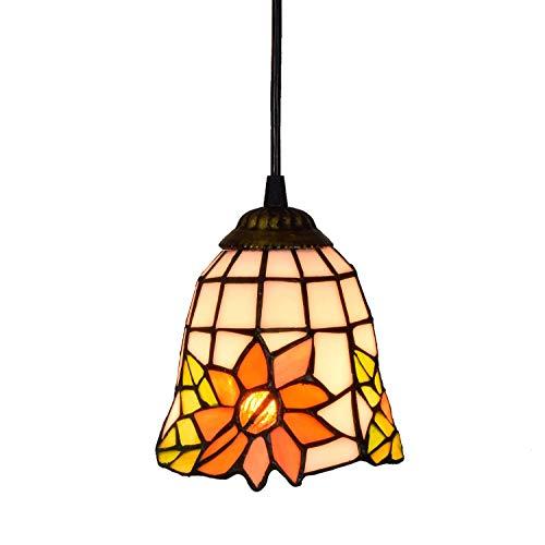 Candelabros de color - 6 'Tiffany Style Pequeño colgante Luz Sol de Sol de Sol de Vidrio Lámpara Colgante Techo Colgante Lámpara Lámpara para Comedor Cocina Isla Dormitorio E26 / E27 Luces creativas d