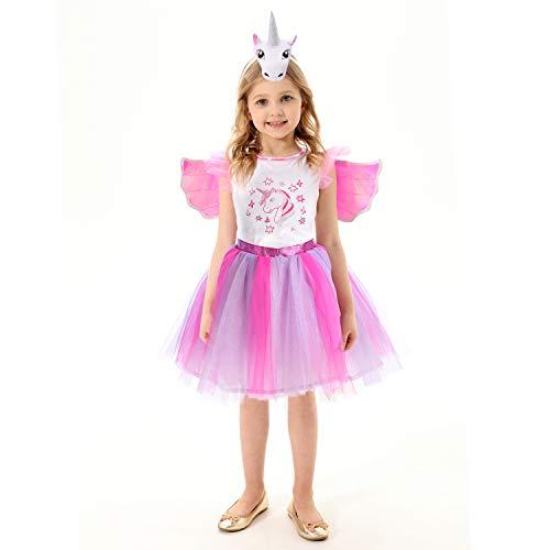 Einhornkostüm für Mädchen, rosa funkelndes Einhornkleid mit Einhornflügeln, Einhornhaube 7-8Jahre