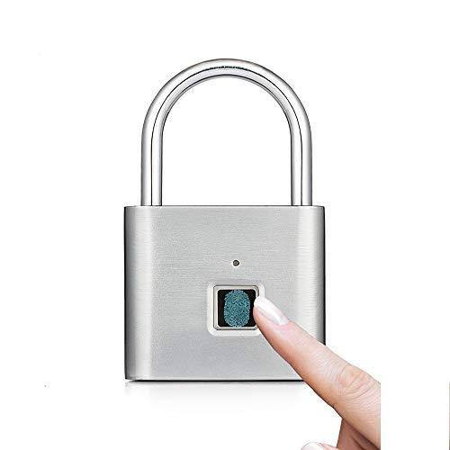 Futurehom Lucchetto Per Impronte Digitali, 360 °Smart Lucchetto per Impronte Digitali con Ricarica USB, Lucchetto di Sicurezza per Impronte Digitali Portatile per Borsa, Armadietto, Valigia (Argento)