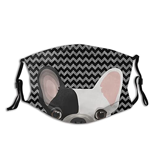 5 PCS Cloth Face Mask, Cute Baby French Bulldog Washable Reusable Face Masks Adjustable Breathable Face Mask for Women Men with 10 Filter