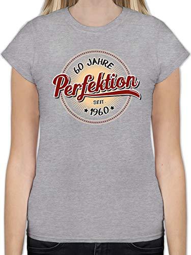 Geburtstag - 60 Jahre Perfektion seit 1960 - XXL - Grau meliert - L191 - Tailliertes Tshirt für Damen und Frauen T-Shirt