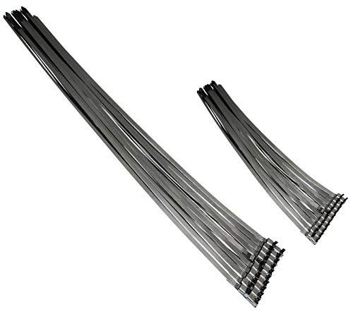 Universele geprefabriceerde AISI 304 SS roestvrijstalen slangklem set 360 + 740 mm/bandklemmen/slangklem band geschikt voor slangband tangen/roestvrijstalen band kabelbinders 40 stuks