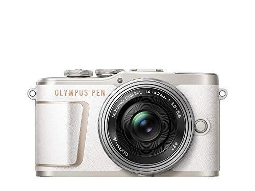 Olympus PEN E-PL10 Micro Four Thirds System Kamera Kit inkl. 14-42mm M.Zuiko EZ Objektiv, Bildstabilisierung im Gehäuse, schwenkbarer Monitor, 4K Video, Wi-Fi,16 Art Filter,9 erweiterte Fotomodi,Weiß