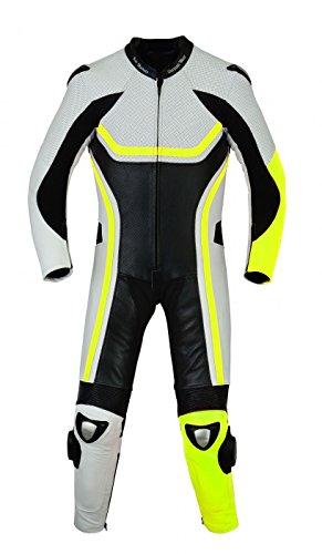 German Wear Tuta da motociclista in vera pelle bovina, giallo fluorescente, taglia: 50