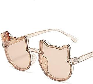 YULE - YULE Gafas de sol para niños y niñas, brillantes, diseño de lazo, gato y niños, gafas graduadas de moda, UV400 (color: marrón)