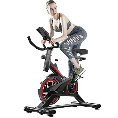 Exercise Bike, Indoor Cycling Bike Stationary, Spin Bike for Home Cardio Gym, Silent Belt Drive Workout Bike with Flywheel, Home Bicycle Fitness Equipment with Digital Monitor Tracks Exercise Data