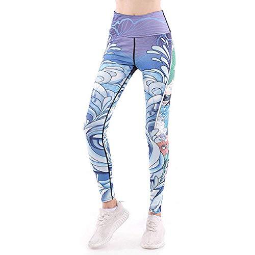 CXLT Yoga Hose Womens Hohe Taille Gym Sport Leggings Fitness Stretch Yogahose Übung Lauftraining Strumpfhosen 3D Druck Polyester Stretch Neun Punkte,Blue-XXL