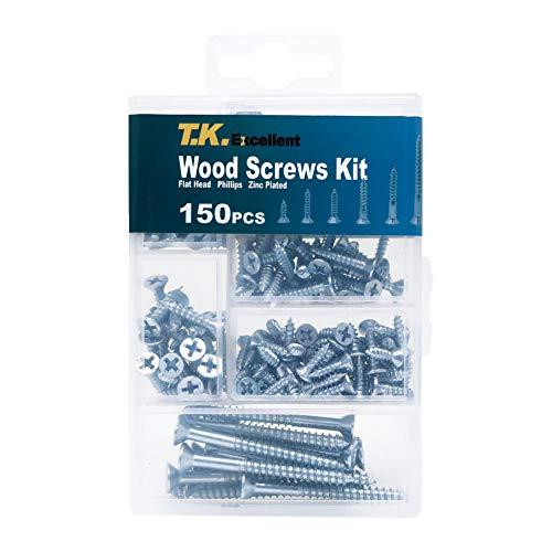 T.K.Excellent Phillips Flat Head Wood Screws Kit,150 Pieces